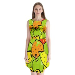 Digitally Created Funky Fruit Wallpaper Sleeveless Chiffon Dress