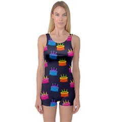 A Tilable Birthday Cake Party Background One Piece Boyleg Swimsuit