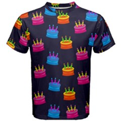 A Tilable Birthday Cake Party Background Men s Cotton Tee
