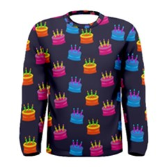 A Tilable Birthday Cake Party Background Men s Long Sleeve Tee
