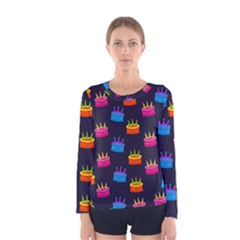A Tilable Birthday Cake Party Background Women s Long Sleeve Tee