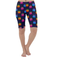A Tilable Birthday Cake Party Background Cropped Leggings