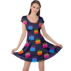 A Tilable Birthday Cake Party Background Cap Sleeve Dresses