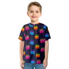 A Tilable Birthday Cake Party Background Kids  Sport Mesh Tee