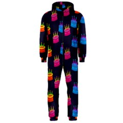 A Tilable Birthday Cake Party Background Hooded Jumpsuit (Men)