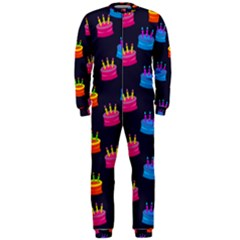 A Tilable Birthday Cake Party Background OnePiece Jumpsuit (Men)