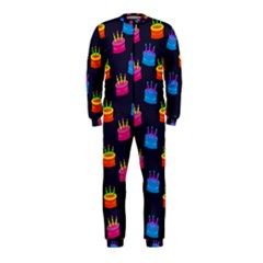 A Tilable Birthday Cake Party Background Onepiece Jumpsuit (kids)