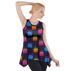 A Tilable Birthday Cake Party Background Side Drop Tank Tunic