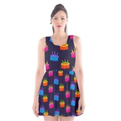 A Tilable Birthday Cake Party Background Scoop Neck Skater Dress