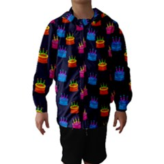 A Tilable Birthday Cake Party Background Hooded Wind Breaker (Kids)