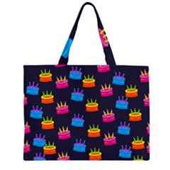 A Tilable Birthday Cake Party Background Zipper Large Tote Bag