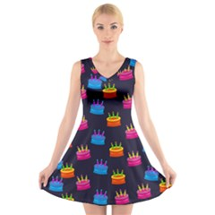 A Tilable Birthday Cake Party Background V Neck Sleeveless Skater Dress