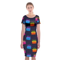 A Tilable Birthday Cake Party Background Classic Short Sleeve Midi Dress