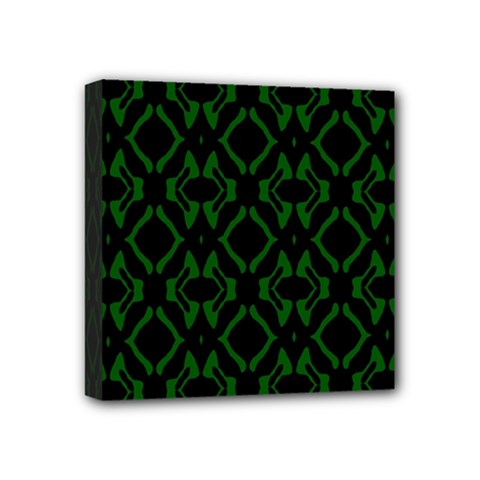 Green Black Pattern Abstract Mini Canvas 4  x 4