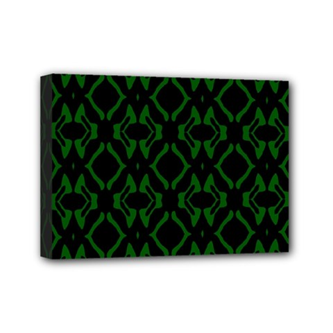 Green Black Pattern Abstract Mini Canvas 7  X 5