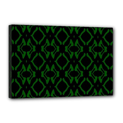 Green Black Pattern Abstract Canvas 18  X 12