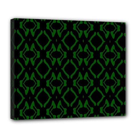 Green Black Pattern Abstract Deluxe Canvas 24  x 20