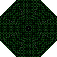 Green Black Pattern Abstract Hook Handle Umbrellas (medium)