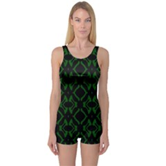 Green Black Pattern Abstract One Piece Boyleg Swimsuit