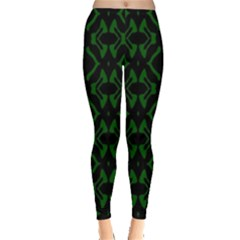 Green Black Pattern Abstract Leggings