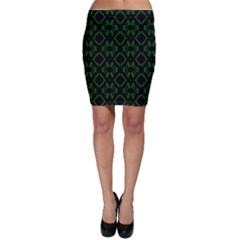 Green Black Pattern Abstract Bodycon Skirt