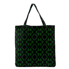 Green Black Pattern Abstract Grocery Tote Bag