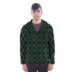 Green Black Pattern Abstract Hooded Wind Breaker (Men)