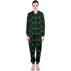 Green Black Pattern Abstract Hooded Jumpsuit (ladies)
