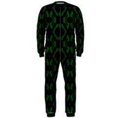 Green Black Pattern Abstract OnePiece Jumpsuit (Men)