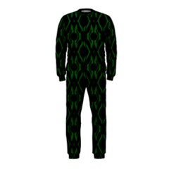 Green Black Pattern Abstract Onepiece Jumpsuit (kids)