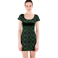 Green Black Pattern Abstract Short Sleeve Bodycon Dress