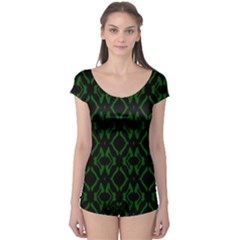 Green Black Pattern Abstract Boyleg Leotard