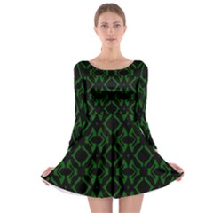 Green Black Pattern Abstract Long Sleeve Skater Dress