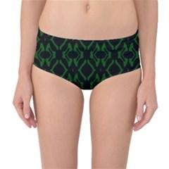 Green Black Pattern Abstract Mid-Waist Bikini Bottoms