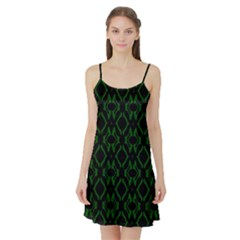 Green Black Pattern Abstract Satin Night Slip