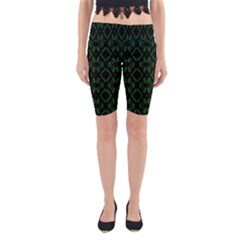 Green Black Pattern Abstract Yoga Cropped Leggings