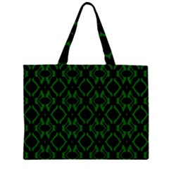 Green Black Pattern Abstract Large Tote Bag
