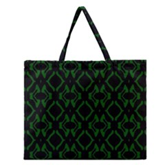 Green Black Pattern Abstract Zipper Large Tote Bag