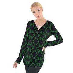 Green Black Pattern Abstract Women s Tie Up Tee