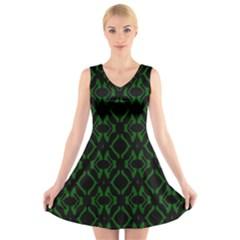 Green Black Pattern Abstract V Neck Sleeveless Skater Dress