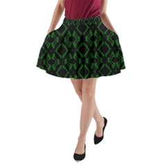 Green Black Pattern Abstract A Line Pocket Skirt