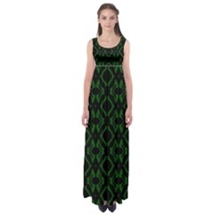 Green Black Pattern Abstract Empire Waist Maxi Dress