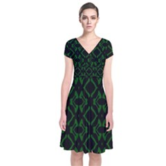 Green Black Pattern Abstract Short Sleeve Front Wrap Dress