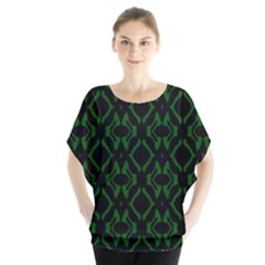 Green Black Pattern Abstract Blouse