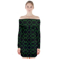 Green Black Pattern Abstract Long Sleeve Off Shoulder Dress
