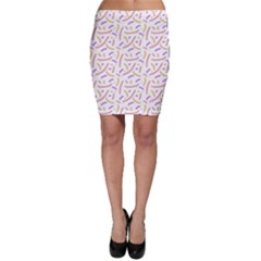 Confetti Background Pink Purple Yellow On White Background Bodycon Skirt