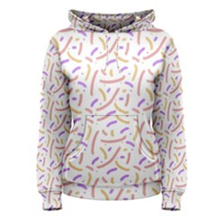 Confetti Background Pink Purple Yellow On White Background Women s Pullover Hoodie