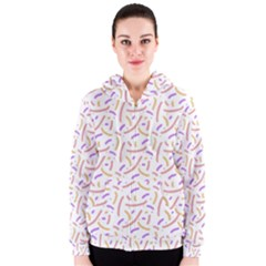 Confetti Background Pink Purple Yellow On White Background Women s Zipper Hoodie