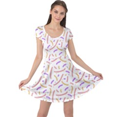 Confetti Background Pink Purple Yellow On White Background Cap Sleeve Dresses