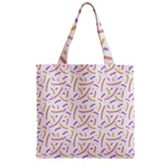 Confetti Background Pink Purple Yellow On White Background Zipper Grocery Tote Bag